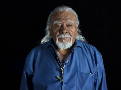 Chumash Elder Joe Talaugon at the Guadalupe Cultural Center, Guadalupe, CA
