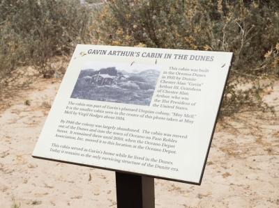 Placard at Gavin's Cabin, Oceano Depot, Oceano, CA