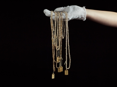 Chumash Necklaces (in hand) at the Mission Museum, San Luis Obispo, CA